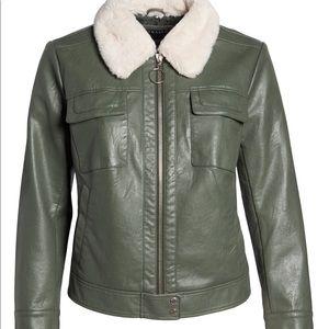 New Bernardo Faux Leather Bomber Jacket